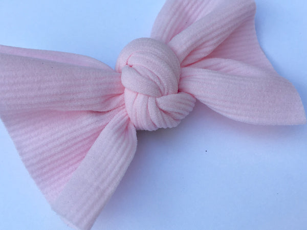 Blush Pink Ribbed Babette Bow CLIP