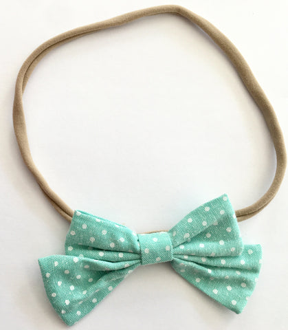 Mint and Dots Babette Bow Thin Headband