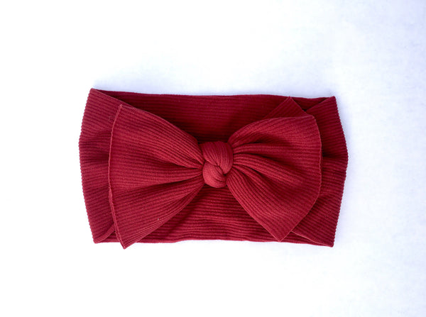 True Maroon Ribbed Babette Bow