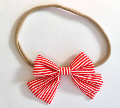 Candy Cane Stripe Babette Bow Thin Headband