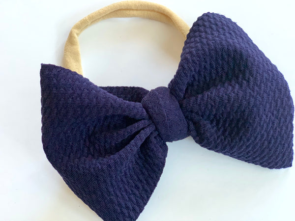 Regal Navy Layered Waffle Bow