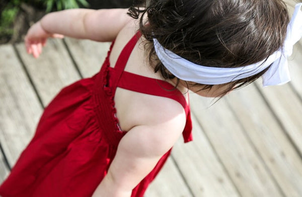 True Maroon Baby Doll Bow Dress