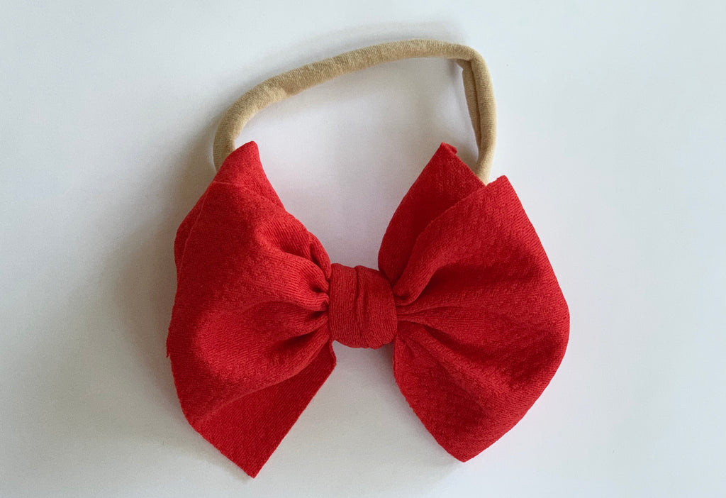 Ruby Red Layered Waffle Bow