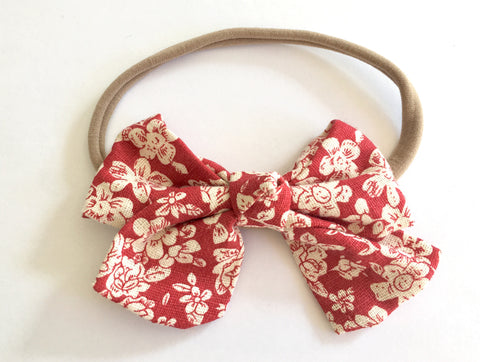 Ruby Red Floral Babette Bow Thin Headband
