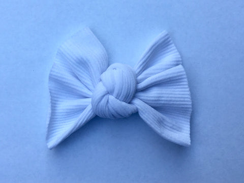 Winter White Ribbed Babette Bow CLIP