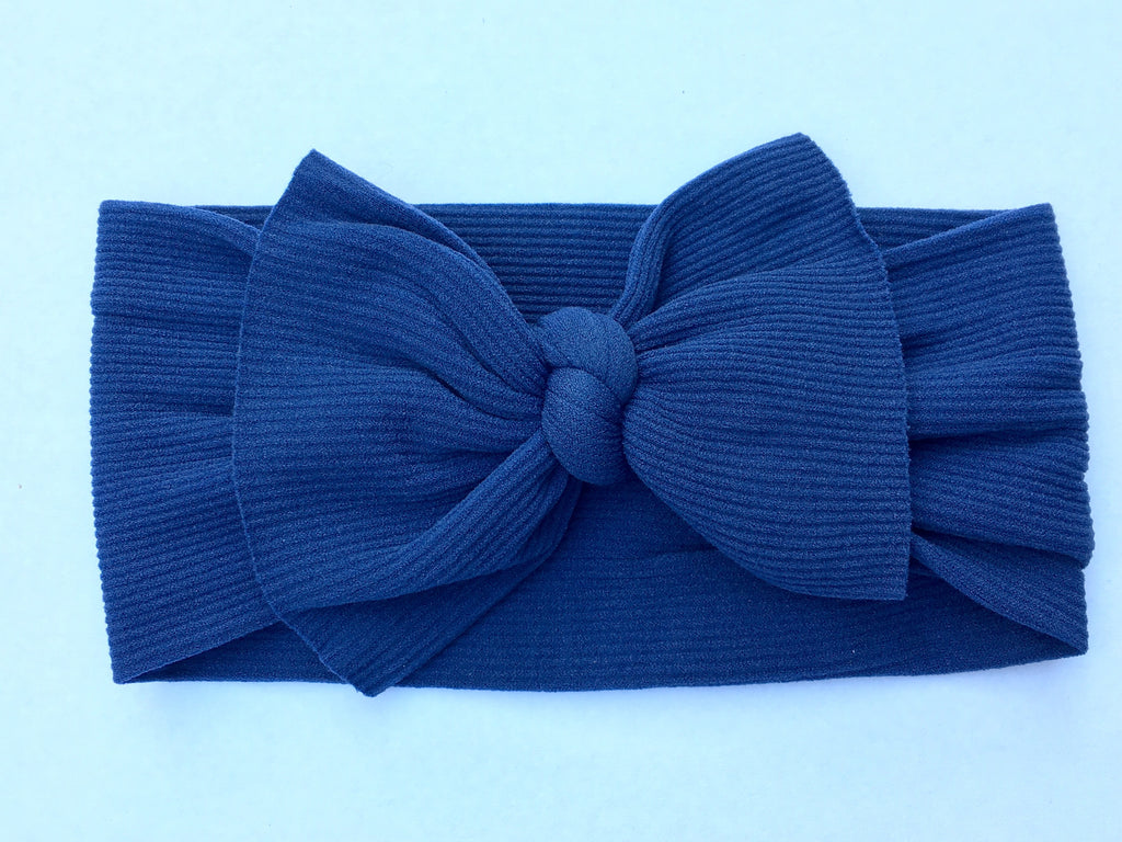 Midnight Navy Ribbed Babette Bow