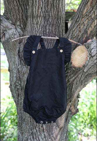 Black Criss-Cross Bib Romper