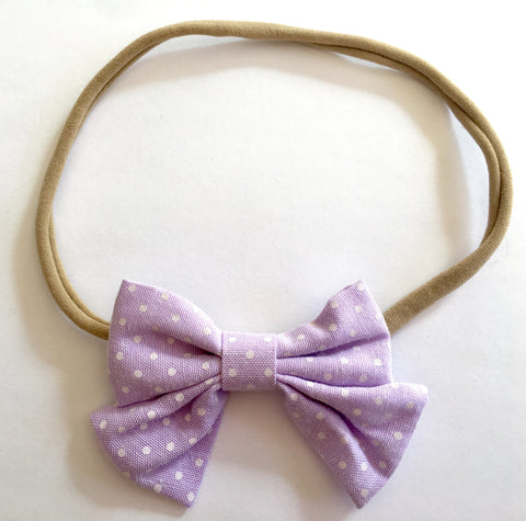 Lavender and Dots Babette Bow Thin Headband