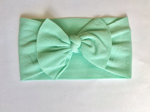 Caribbean Mint Ribbed Babette Bow