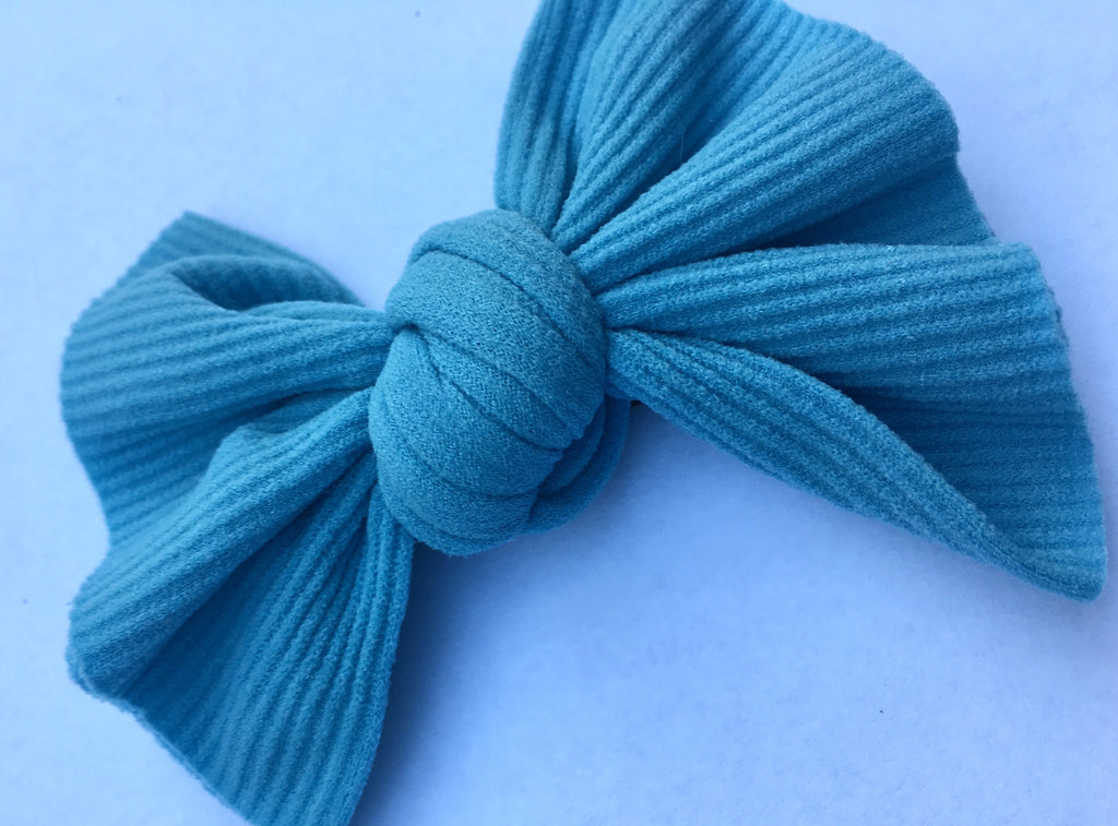 Dusty Blue Ribbed Babette Bow CLIP