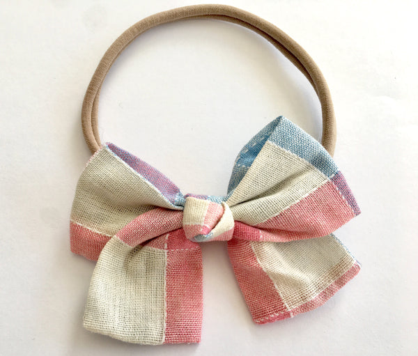 Pastel Plaid Babette Bow Thin Headband