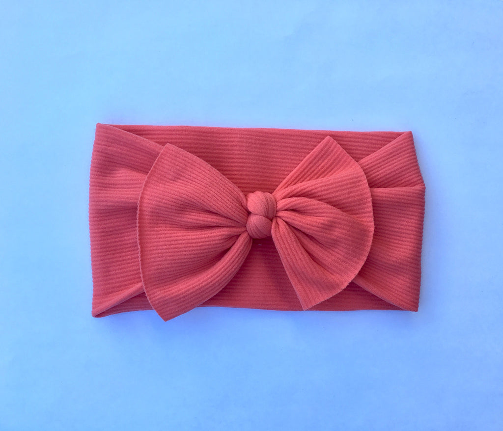 Sunset Coral Ribbed Babette Bow
