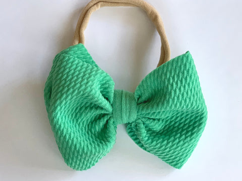 Kelly Green Layered Waffle Bow