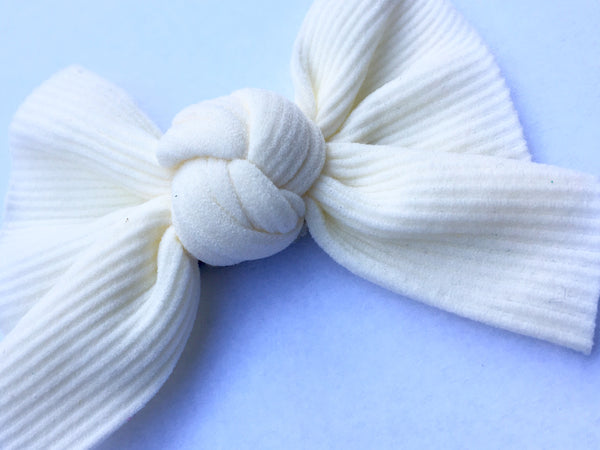 Butter Cream Ribbed Babette Bow CLIP