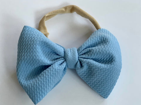 Dusty Blue Layered Waffle Bow