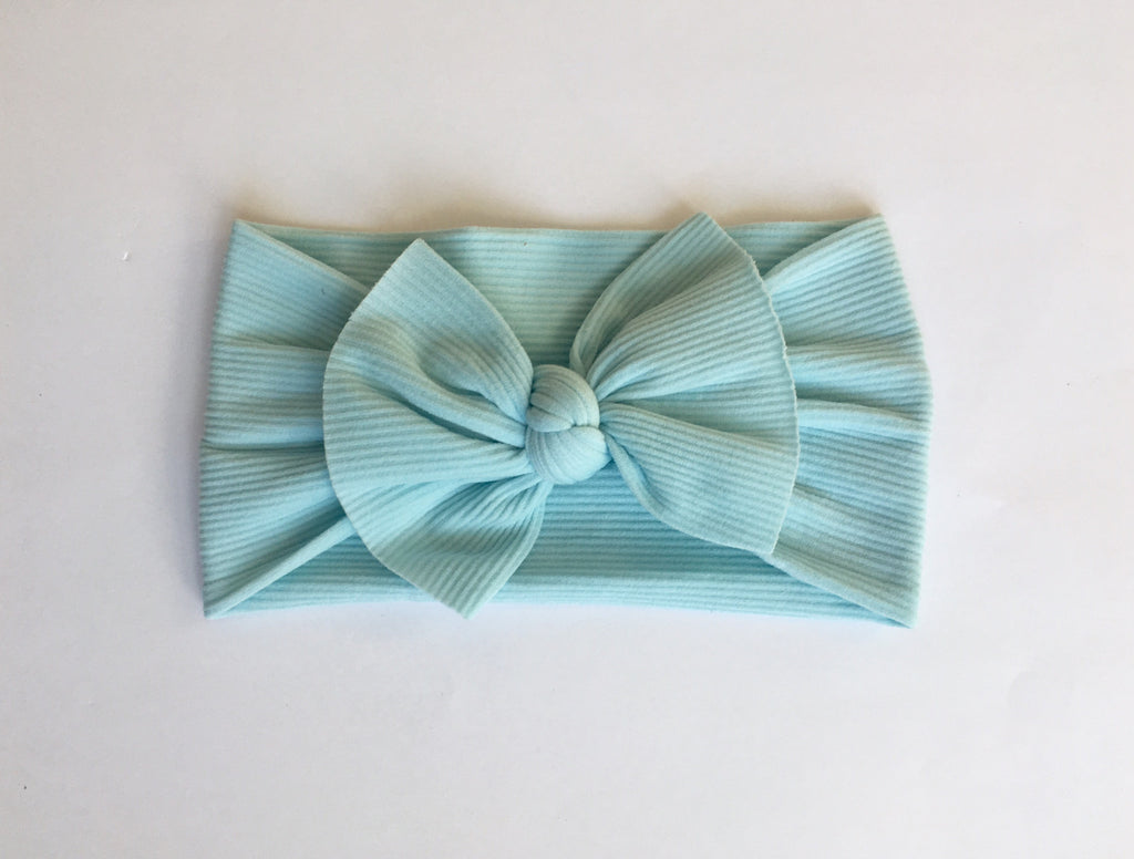 Baby Blue Ribbed Babette Bow
