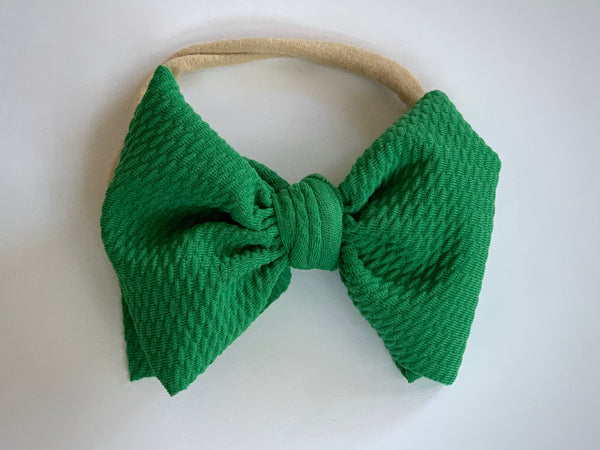 Holiday Green Layered Waffle Bow