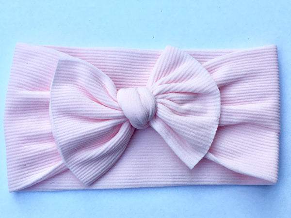Blush Pink Ribbed Babette Bow
