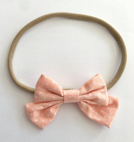 Peach And Dots Babette Bow Thin Headband
