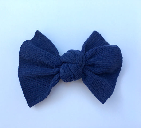 Midnight Navy Ribbed Babette Bow CLIP