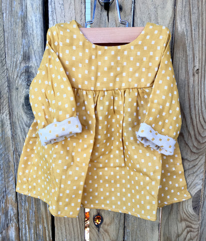 Mustard Yellow Dot Baby Doll Dress