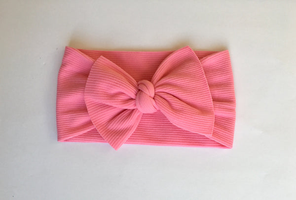 Bubble Gum Pink Ribbed Babette Bow
