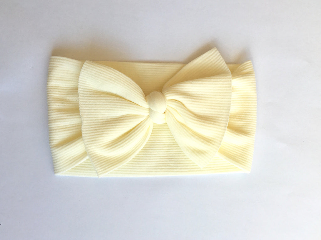 Butter Cream Ribbed Babette Bow