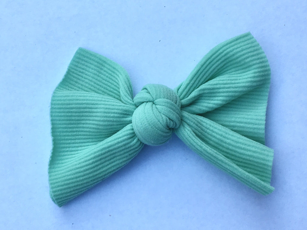 Caribbean Mint Ribbed Babette Bow CLIP
