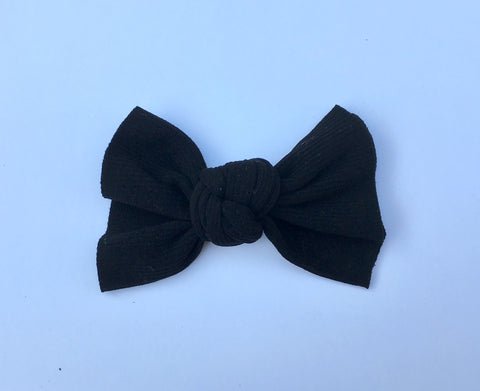 Bella Black Ribbed Babette Bow CLIP