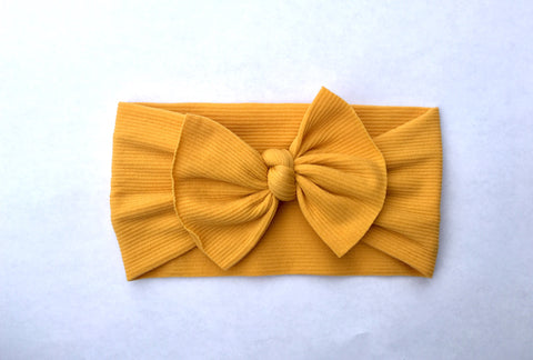 Mustard Yellow Ribbed Babette Bow