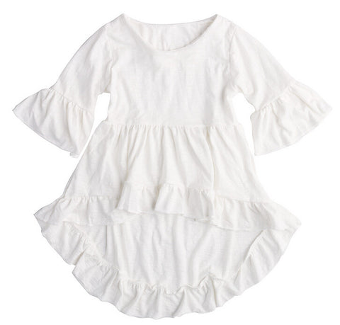Baby Girls Princess White Ruffled Top Dress Festival Style