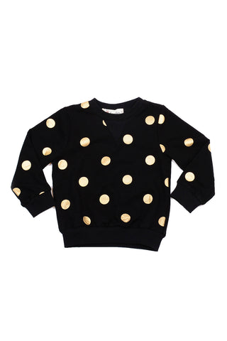 Crew Neck Sweater Gold Dots Black
