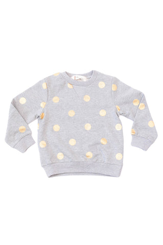 Crew Neck Sweater Gold Dots Grey