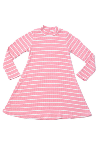Mock Neck Dress Pink White Stripes