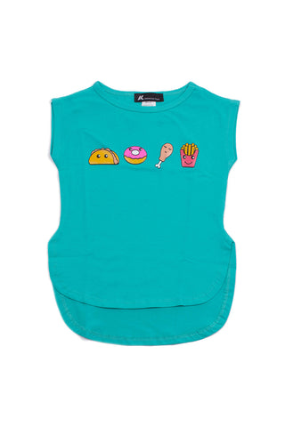 T shirt Food Turquoise