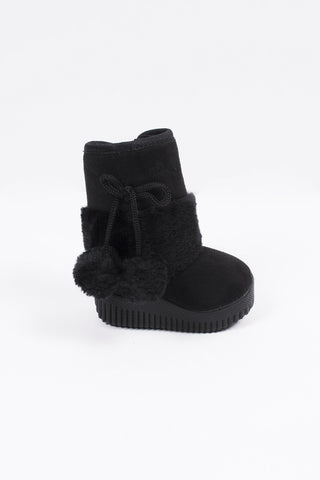 Winter Baby Boot Black Pompons