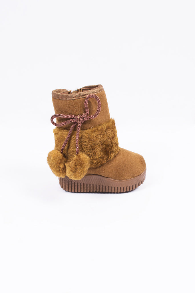 Winter Baby Boot Tan Pompons
