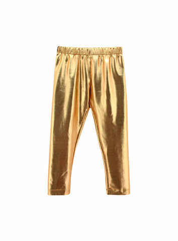Baby Toddler Girl Metallic Gold Leggings
