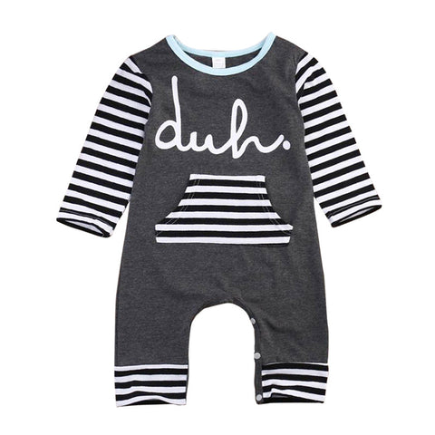 "Baby Girl Boy Romper ""Duh"" Long Sleeve"