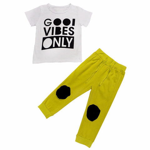 "Baby Toddler Boy 2 Piece Set ""Good Vibes Only"""