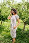Striped Drawstring T-Shirt Dress-1XL, 2XL, 3XL, 7-30-2020, 8-7-2020, BFCM2020, Bonus, Dresses, Group A, Group B, Group C, Group D, Large, Medium, Plus, Small, XL, XS-Womens Artisan USA American Made Clothing Accessories