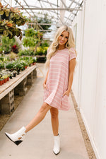 Don't Blink Pink & Ivory Striped Dress-1XL, 2XL, 3-12-2021, 3XL, 6-25-2020, 7-3-2020, Bonus, Dresses, FeaturedMay2021w1, Group A, Group B, Group C, Group D, Large, Made in the USA, Medium, Plus, Re-Release, Small, XL, XS-Womens Artisan USA American Made Clothing Accessories