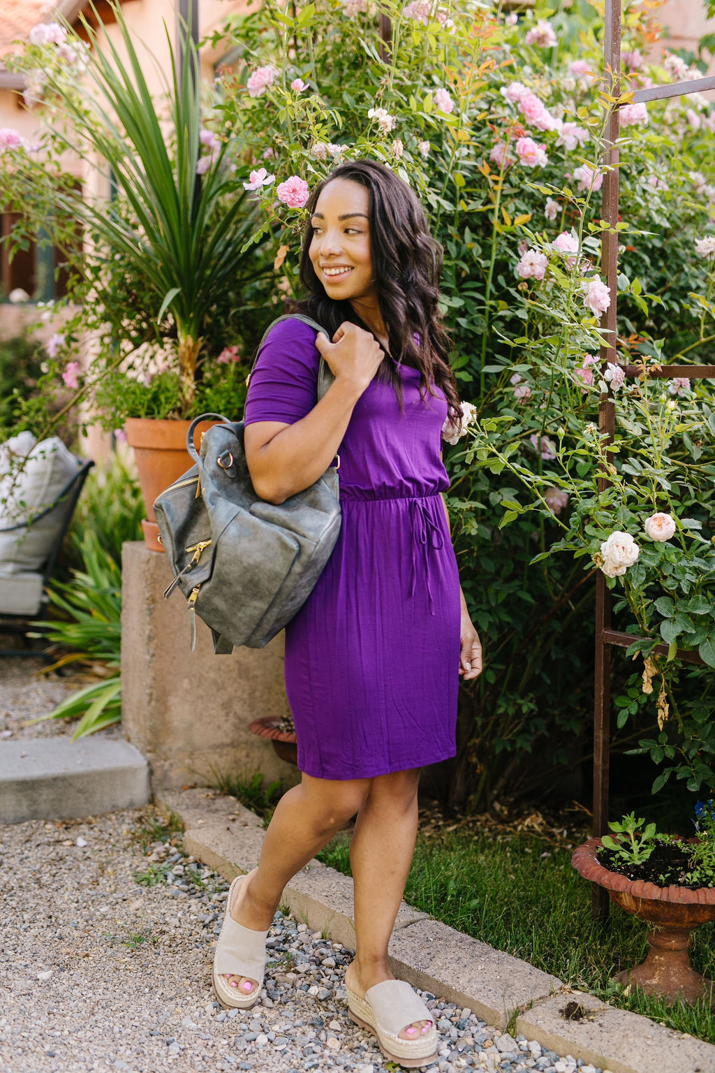 Cute Comfort Dress In Purple-1XL, 2XL, 3XL, 8-13-2020, BFCM2020, Dresses, Group A, Group B, Group C, Group D, Group T, Large, Medium, Plus, Small, XL, XS-Womens Artisan USA American Made Clothing Accessories