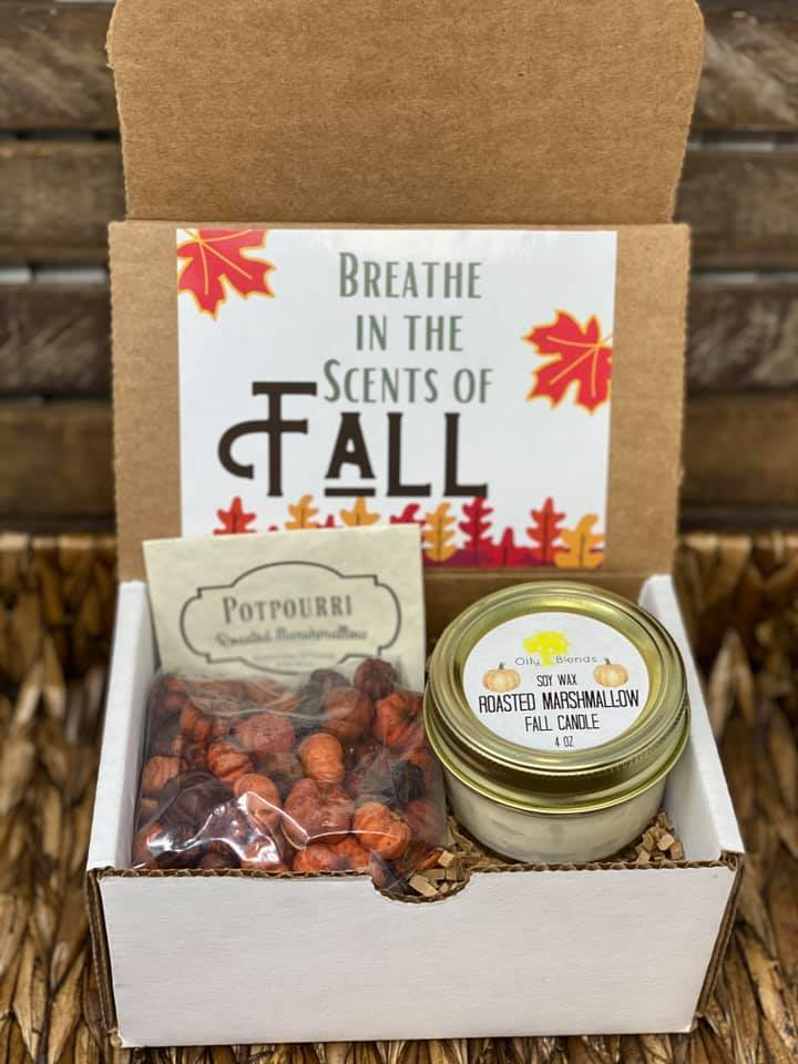 Fall Gift Boxes with Candle and Potpourri-Roasted Marshmallow-Womens Artisan USA American Made Clothing Accessories