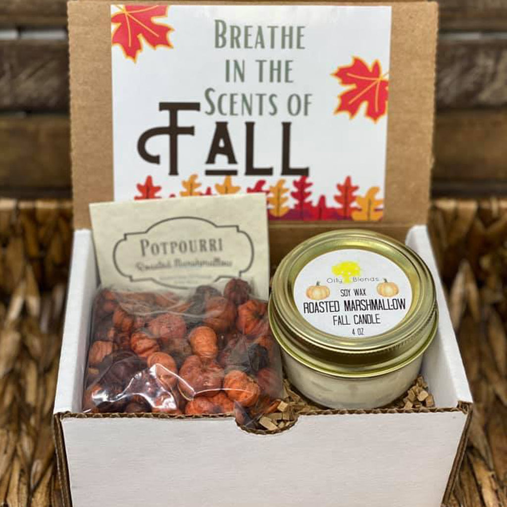 Fall Gift Boxes with Candle and Potpourri--Womens Artisan USA American Made Clothing Accessories