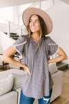 Laced Up & Sophisticated Blouse in Gray-1XL, 2XL, 3XL, 4-20-2021, 5-5-2021, Bonus, Group A, Group B, Group C, Large, Made in the USA, Medium, Small, Tops, XL, XS-Womens Artisan USA American Made Clothing Accessories