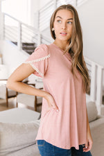 Laced Up & Sophisticated Blouse in Blush-1XL, 2XL, 3XL, 4-20-2021, 5-5-2021, Bonus, Group A, Group B, Group C, Large, Made in the USA, Medium, Small, Tops, XL, XS-Womens Artisan USA American Made Clothing Accessories