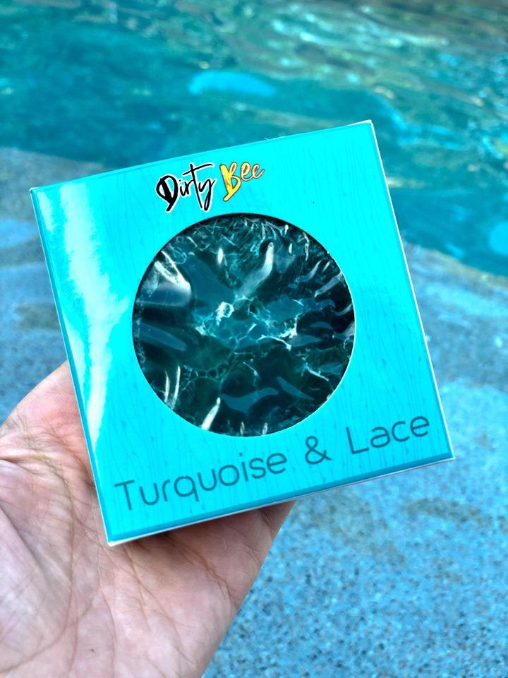 Turquoise & Lace Loofah Soap-Bath & Body, body, Dirty Bee, Dropship, Loofah Soap, Soap, Turquoise & Lace-Womens Artisan USA American Made Clothing Accessories