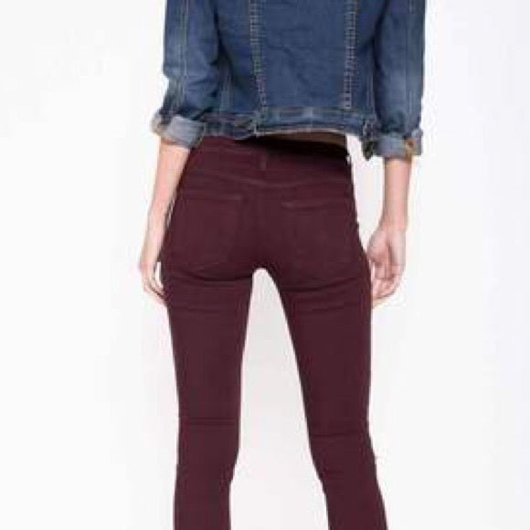 Distressed Premium Denim in Wine--Womens Artisan USA American Made Clothing Accessories