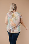 Abstract Floral Lineup Pastel Blouse-1XL, 2XL, 3XL, 9-8-2020, BFCM2020, Group A, Group B, Group C, Group D, Group S, Large, Medium, Plus, Small, Tops, Warehouse Sale, XL, XS-Womens Artisan USA American Made Clothing Accessories